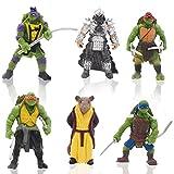 6pcs Mutant Ninja Turtle Caricatura Cake Topper, Adolescentes Mutantes Ninja Tortugas Figura de acción de Dibujos Animados Pastel decoración Creativa