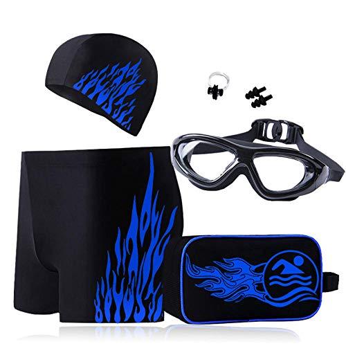 Vijfdelige zwembroek heren boxershort zwembril badmuts pak zwemuitrusting mode tij plus maat
