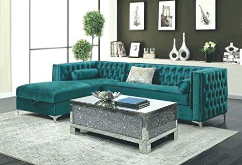 JVmoebel Ecksofa Chesterfield Textil Samt Polster Sofa Couch Sitz Eck Garnitur Turkis