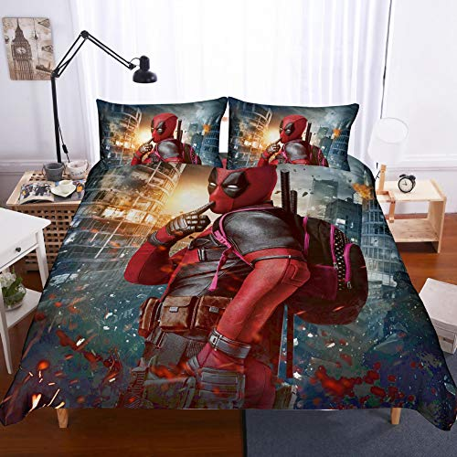 BLSM Microfibre 3D Digital Print 3-Piece Bedding Set, Duvet Cover With Two Pillowcases, Deadpool, Game of Thrones, A15, Single 135x200cm
