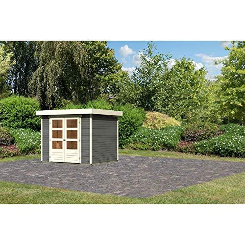Röhrs Edition - Karibu Gartenhaus Walsrode 3 terragrau - Gerätehaus aus Fichtenholz - 242 x 217 cm - 19 mm Wandstärke - modernes Design mit Flachdach