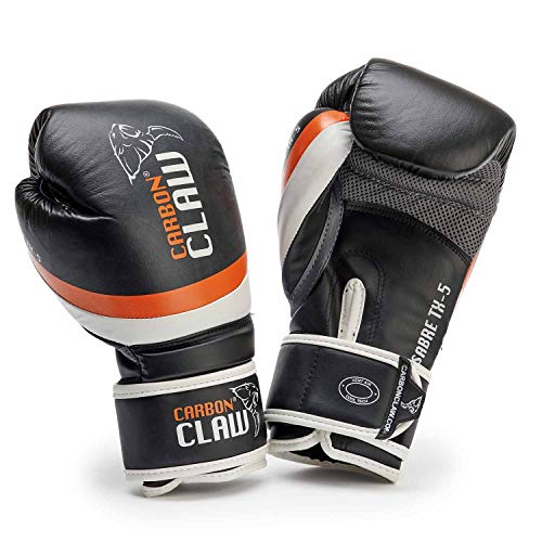 Carbon Claw Sabre TX-5 Sparring-Handschuhe, Leder, Farbe: Schwarz/Orange, Gewicht: 454 g