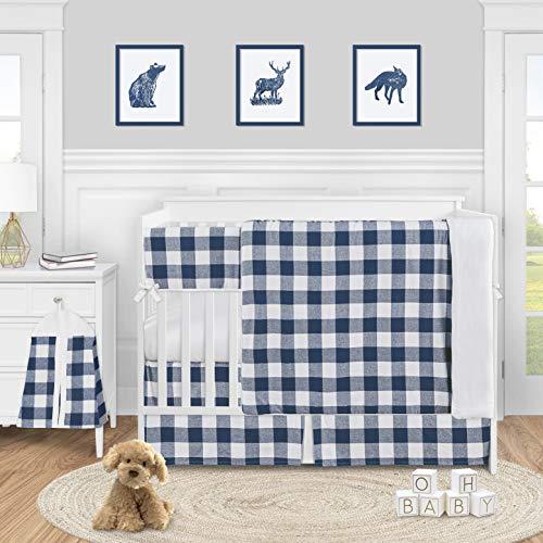 Sweet Jojo Designs Navy Buffalo Plaid Check Baby Boy Nursery Crib Bedding Set - 5 Pieces - Blue and White Woodland Rustic Country Farmhouse Lumberjack