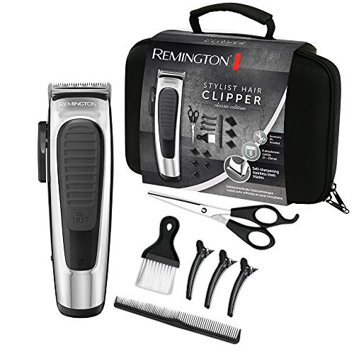 Remington Haarschneidemaschine Profi Classic (selbstschärfende Edelstahlklingen, Klingeneinstellhebel, 8 Aufsteckkämme, Aufbewahrungstasche, Friseur - Set, Netz-/Akkubetrieb) Haarschneider HC450