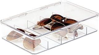 mDesign Plastic Rectangular Stackable Storage Organizer Holder Box Attached Hinged Lid Sunglasses, Eyeglasses, Reading Gla...