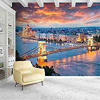 3D壁画ヨーロピアンシティライトハイブリッジナイトビュー壁紙リビングルーム寝室背景壁の装飾3Dステッカー壁布-200X140CM