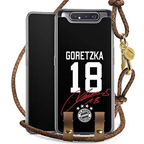 DeinDesign Carry Case kompatibel mit Samsung Galaxy A80 Handykette Handyhülle zum Umhängen Goretzka #18 FC Bayern München Trikot