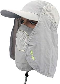 Gorra de pesca, Ultraligera Flap transpirable Sombrero Cuello de protección Gorra con protector solar extraíble y máscara para pescar al aire libre Senderismo Trabajo en el jardín - Anti-UV UPF 50+.