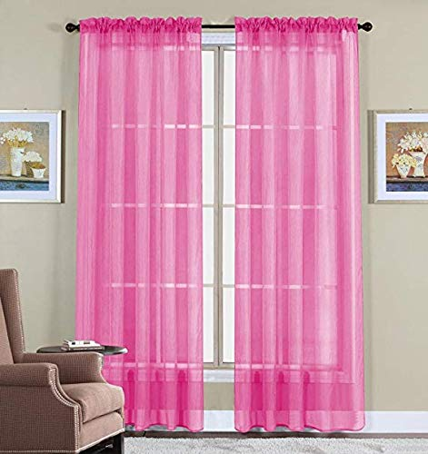 """Jasmine Linen 2 Piece Sheer Luxury Curtain Panel Set for Kitchen/Bedroom/Backdrop 84"""" Inches Long (Hot Pink)"""