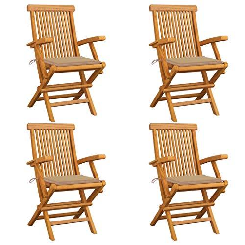 vidaXL 4X Madera de Teca Sillas de Jardín con Cojines Asiento Patio Terraza Balcón Mobiliario Muebles Cocina Comedor Exterior Respaldo Beige