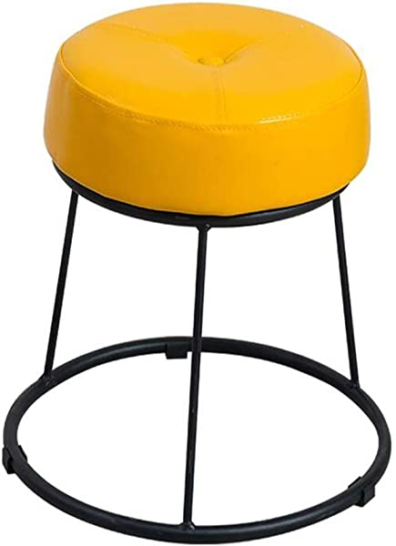 Metal Round Change Shoe Stool Footstool Upholstered Ottoman Stool Designer Sofa Footrest Luxury Dining Chair Yellow Size High46 5cm