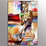 YWOHP Arte de Pared Abstracto Moderno Lienzo Impreso Carteles e Impresiones de Mujeres africanas Mural Arte Corporal 30x45cm sin Marco para Sala de Estar Familiar
