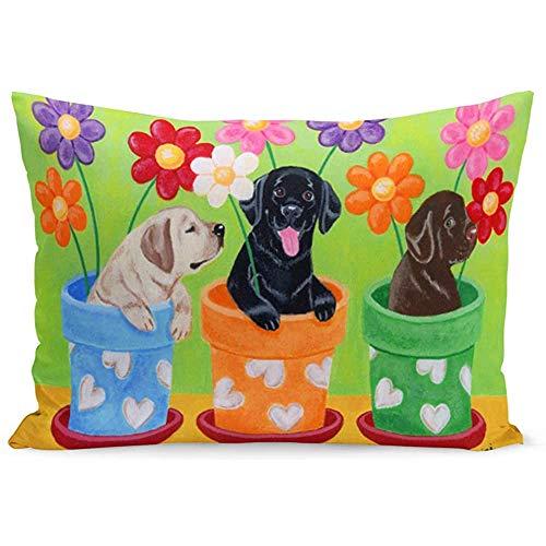 Jonycm Funda de cojín de color amarillo y negro, maceta de labrador de laboratorio, chocolate, perro recuperador de perro, funda de almohada de cama, funda de cojín de sofá, funda de almohada de coche, 3 tamaños con cremallera, 60 x 40 cm
