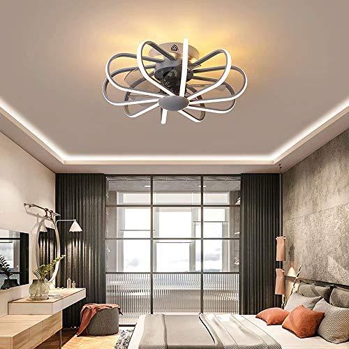 Ventilador de techo invisible, control remoto, cambio de color tricolor, luz del ventilador del hogar, candelabro LED con ventilador de iluminación integrado para lámparas de restaurante, 112W