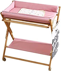 Foldable Baby Diaper Changing Table with Safety Straps  Infant Wooden Massage Touch Care Station Nursery Organizer for Newborn  Pink