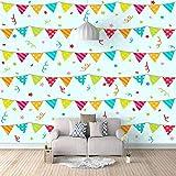 Wandbilder Natürliche Landschaft - 450X300 Cm - 9 Streifen- Wandgemälde Für Haus Schlafzimmer Büro Wandtapete Weihnachten Visuelle Raum Fototapete - Kleine Farbige Fahnen