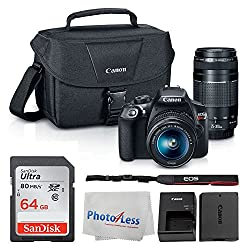 Image of Canon EOS Rebel DSLR T6 Camera Body + Canon EF-S 18-55mm IS II Lens & EF 75-300mm III Lens + Canon EOS Shoulder Bag (Black) + SanDisk SDXC 64GB Memory Card + Cleaning Cloth + Ultimate Canon Bundle: Bestviewsreviews