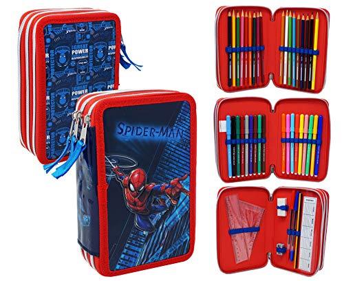 Spiderman SP0632 Astuccio Triplo Riempito, 44 Accessori Scuola, Fila, Giotto, 20...