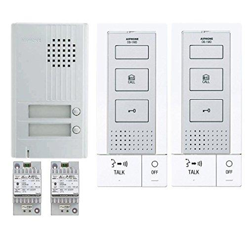 AIPHONE - Kit audio platine alu saillie 2BP 2 p.maîtres mains-libres et 2 transfos DA2DS+2xDB1MD+2xPT1211DR 118715 KITDB2 - AIP-118715