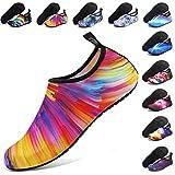 ANLUKE Water Shoes Barefoot Aqua Yoga Socks Quick-Dry Beach Swim Surf Shoes for Women Men Orange/Colorful 38/39