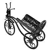 Duokon Portabottiglie in Ferro per Vino a Forma di Triciclo Supporto per portabottiglie per bancone Bar Decorazione Domestica Modello Triciclo(Nero)