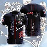 Xiaolimou NFL 2021 New England Patriots T-Shirt Tee Shirt XXS-5XL, Cadeau pour Les Fans De Rugby, Adapté Aux Sports De Plein Air, Lavable en Machine, Séchage Rapide, Ne Se Décolore Pas,XXXXXL