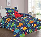 Golden Linens Kids Bed-in-Bag Multi Color Orange Green, Navy Blue Dinosaur Twin Size Comforter, Sheet Set with Pillow Cushion Toy# T6Pcs Multi Color Dinosaur