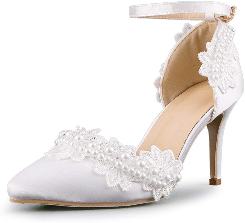 HhGold Damen Ketten mit Perlen Satin Knöchelriemen Hochzeit Formelle Partei Schuhe (Farbe   Ivory-9cm Heel, Größe   5.5 UK)    Schönes Design