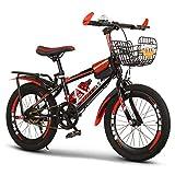 GZMUK Bicicleta De Montaña para Niños 18/20/22/024 Pulgadas Marco De Acero De Alto Carbono Adecuado para Niños De 8 Años En Adelante,Rojo,24 in