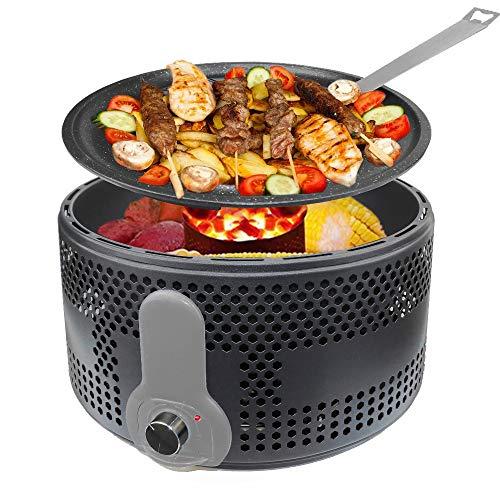 KASEEMI Holzkohlegrill, Antihaft-Backform Grill Barbecue für 4~6 Personen mit Aktivbelüftung...