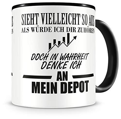 Samunshi® Ich denke an mein Depot Tasse Kaffeetasse Teetasse Kaffeepott Kaffeebecher Becher