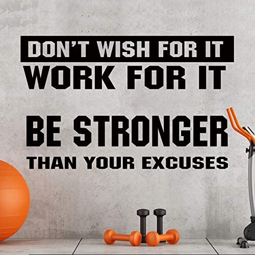 2 Pieces Gym Wall Decal Motivational Vinyl Wall Decals Be Stronger Than Your Excuses Sticker product image