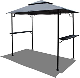 COBANA 8' by 5'Steel Outdoor Backyard BBQ Grill Gazebo with 2-Tier Soft Top Canopy, Gray