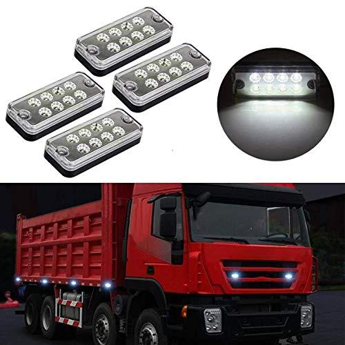 GOFORJUMP 4PCS 12V 8 LED feu de balisage latéral Lampe remorque Camion Caravane étanche Voyant Blanc