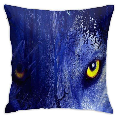 lucies Blue Wolf Gaze Eyes Throw Pillow Case Soft Cushion Cover 18 X 18 Inch Decorative Pillowcases Modern Square Pillow Case Home Car Decoration