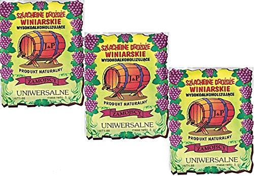 Hugbert Weinhefe, Nährstoff Klärungsmittel für Wein, Universal, 100% natürlisches Produkt Gärhefe, 3 Stück