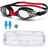 ZABERT Gafas de natación para niños, gafas de natación K1, gafas de natación para niños, gafas de cloro para adolescentes, niños, niñas, 2, 3, 4, 5, 6, 7, 8, 9, 10, 11, 12 años, color negro y rojo