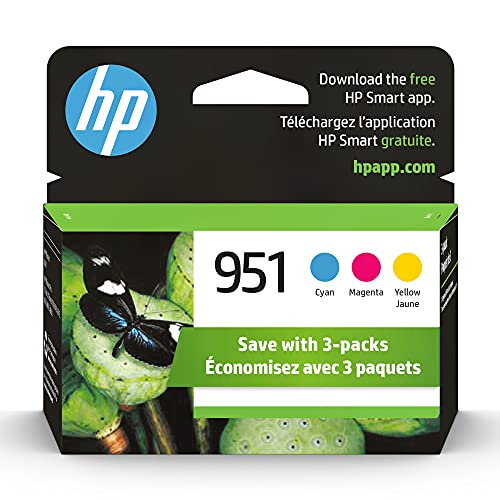 HP 951 | 3 Ink Cartridges | Cyan, Magenta, Yellow | Works with HP OfficeJet Pro 251dw, 276dw, 8600 Series, 8100 | CN050AN, CN051AN, CN052AN