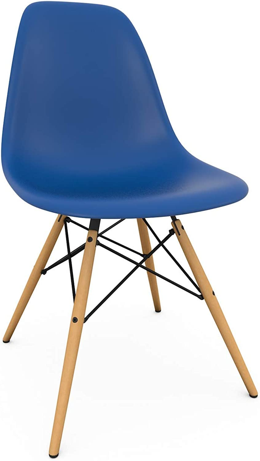 Take Me Home Furniture Eames Style Eiffel Dinning Chair in Royal bluee with Natural Wood Legs