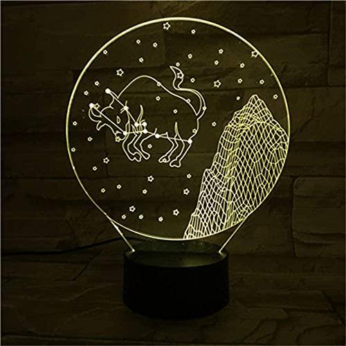 Taurus Lámpara de ilusión 3D Lámpara de estado de ánimo 16 colores cambiantes LED lámpara de noche con características inteligentes para niños niñas de 2 3 4 5 6 7+ años de edad con regalos de Navidad