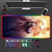 RGBゲーミングアニマルマウスパッドマットラージ、14モードLEDライトゲーミングPCラップトップ用拡張キーボードマットMacbook 900x300x4mm
