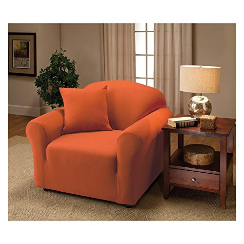 Madison Stretch Jersey Tangerine Chaise Slipcover, Solide