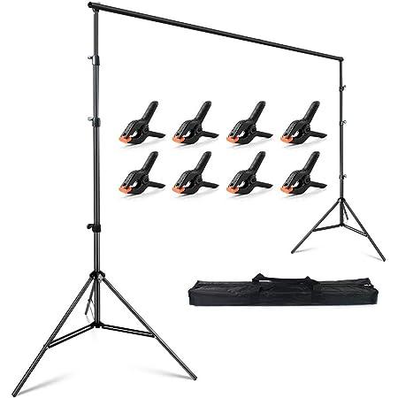 FotoFoto 背景スタンド 280 x 300cm 撮影スタンド 大型 強力クリップ 8個付き 高さ96cm-285cm調整可能 背景布 スタンド 安定性がよい クロマキー グリーンバック スタンド 持ち運び便利 小型・中型・大型 写真撮影用 背景サポートスタンド 3m x 6m 背景布に適用 設置簡単 三脚ケース付き