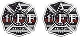 2 pk IAFF Thin Red Line Decal Distressed Flag Firefighter Cross Badge Sticker (4' х 4')