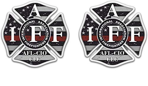 "2 pk IAFF Thin Red Line Decal Distressed Flag Firefighter Cross Badge Sticker (4"" х 4"")"