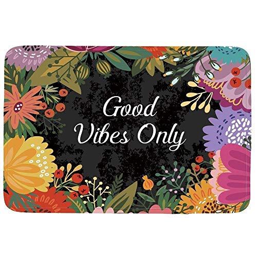 """Good Vibes Only Doormat Entrance Mat Floor Mat Rug Indoor/Front Door/Bathroom/Kitchen and Living Room/Bedroom Mats Rubber Non Slip (L23.6""""X15.7""""W)"""