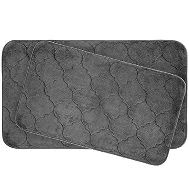 Bounce Comfort Faymore Extra Thick Premium Plush 2 Piece Memory Foam Bath Mat Set with BounceComfort Technology, 20  x 34  Dark Grey