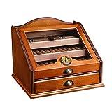 Humidores Caja De Exhibición De Cigarros, Cedro con Tapa De Vidrio con Acabado De Piano, Sistema De Humidificación Y Cajón...