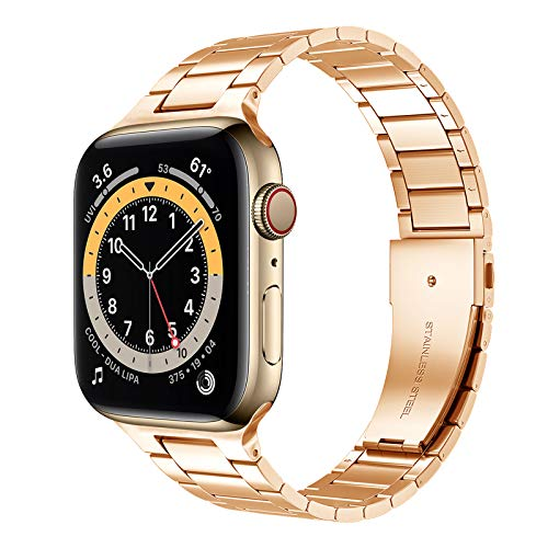 Metal Apple Watch Strap Stainless Steel Adjustable Replacement Bands Stainless Steel iWatch Strap Compatible with Apple Watch Series 6 SE 5 4 3 2 1,E,42/44mm