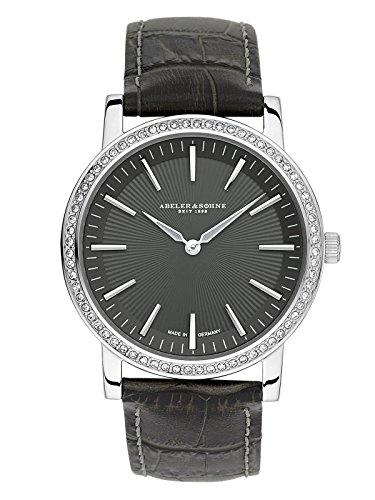 ABELER & SÖHNE Fabricado en Alemania AS1206 - Reloj de pulsera para mujer con correa de piel, cristal de zafiro y circonita